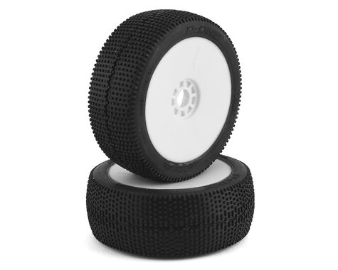 AKA P1 1/8 Buggy Pre-Mounted Tires (2) (White) (Super Soft - Long Wear)