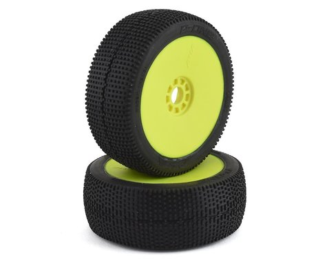 AKA P1 1/8 Buggy Pre-Mounted Tires (2) (Yellow) (Super Soft)