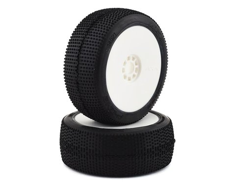 AKA P1 1/8 Buggy Pre-Mounted Tires (2) (White) (Soft - Long Wear)