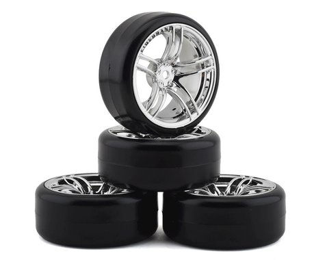 Firebrand RC Icestar D Pre-Mounted Slick Drift Tires (4) (Chrome)