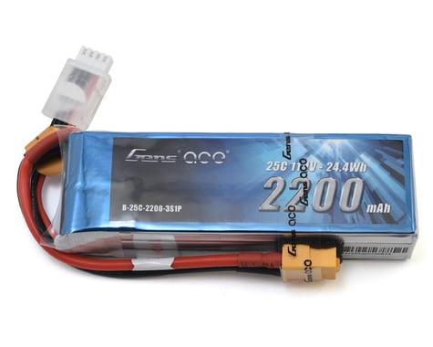 Gens Ace 25C 2200mah 11.1V 3S Lipo Battery Pack with XT60 Plug GA-B-25C-2200-3S1P-XT60
