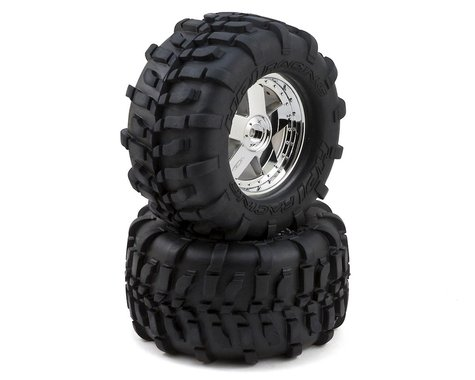 HPI GT Tire Pre-Mounted on GT5 Wheel (Chrome) (2) (S Compound)