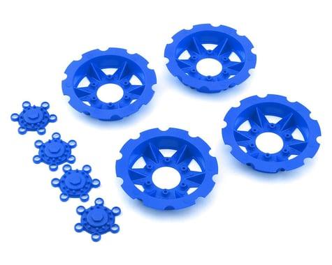 """JConcepts """"Tracker"""" Monster Truck Wheel Mock Beadlock Rings (Blue) (4)"""