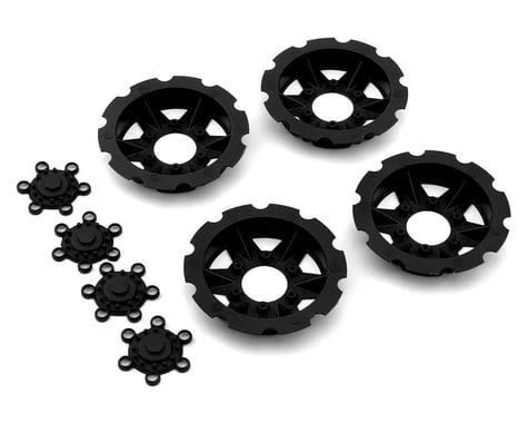 """JConcepts """"Tracker"""" Monster Truck Wheel Mock Beadlock Rings (Black) (4)"""