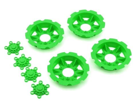 """JConcepts """"Tracker"""" Monster Truck Wheel Mock Beadlock Rings (Green) (4)"""