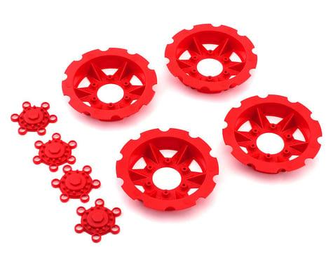 """JConcepts """"Tracker"""" Monster Truck Wheel Mock Beadlock Rings (Red) (4)"""