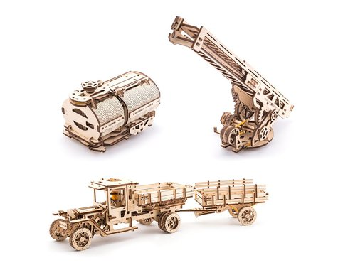 UGears Tanker, Fire Ladder & Chassis Additions (for Truck UGM-11)